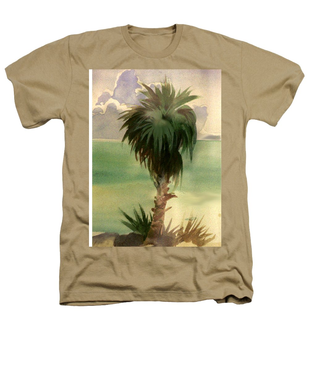 Palm Heathers T-Shirt featuring the painting Palm At Horseshoe Cove by Neal Smith-Willow
