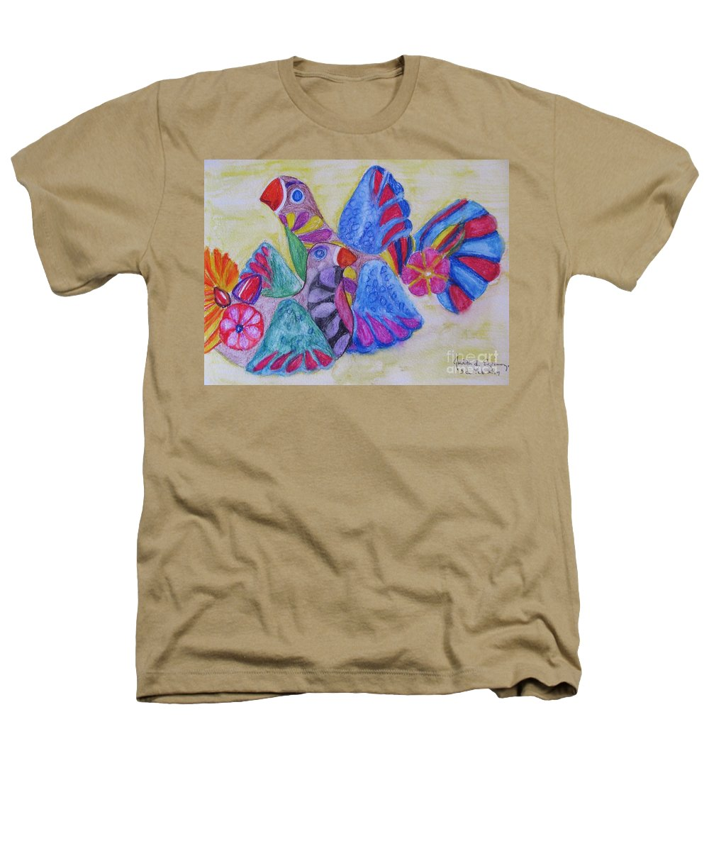 Bright Colors Heathers T-Shirt featuring the painting Palomas - Gifted by Judith Espinoza