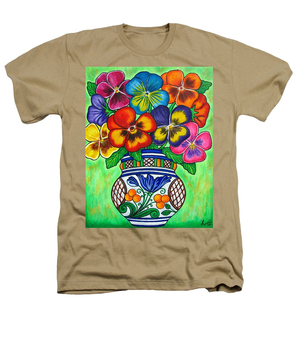 Flower Heathers T-Shirt featuring the painting Pansy Parade by Lisa Lorenz