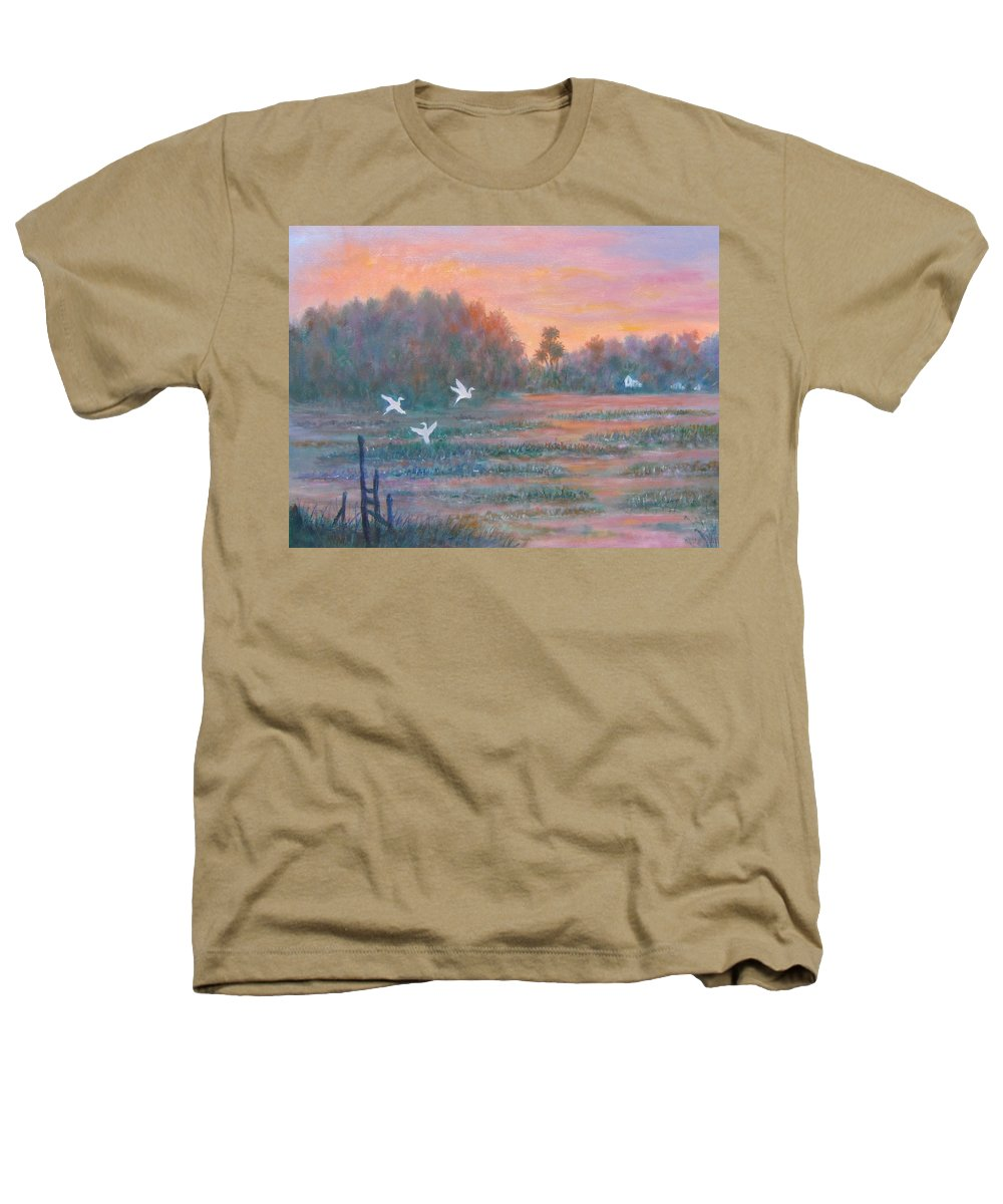 Low Country; Egrets; Sunset Heathers T-Shirt featuring the painting Pawleys Island by Ben Kiger