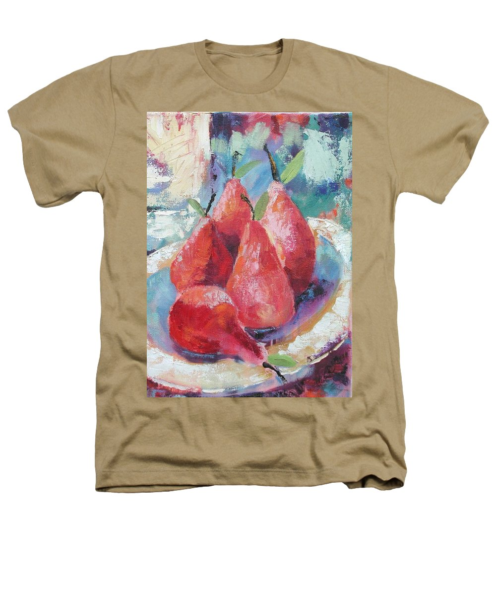 Pears Heathers T-Shirt featuring the painting Pears by Ginger Concepcion