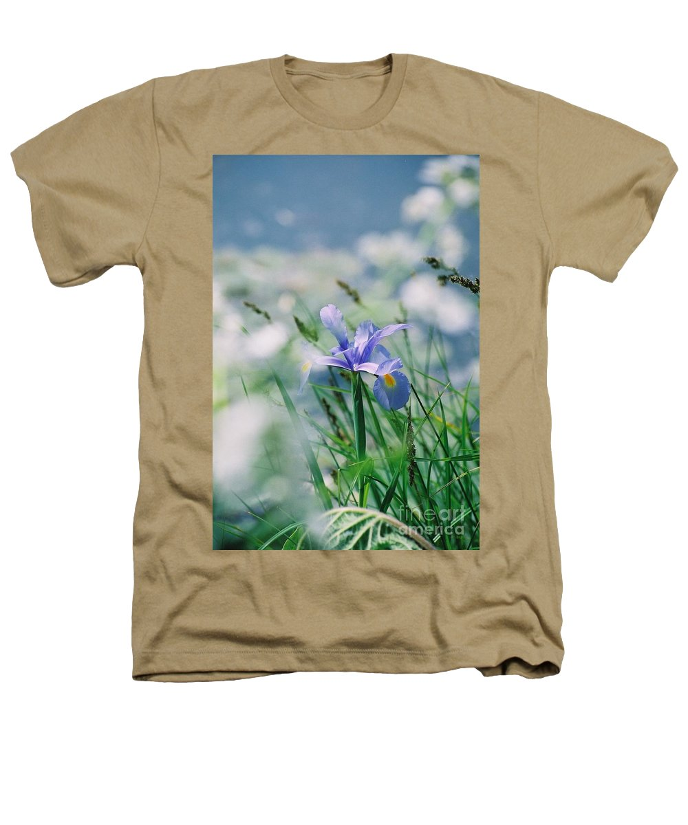 Periwinkle Heathers T-Shirt featuring the photograph Periwinkle Iris by Nadine Rippelmeyer
