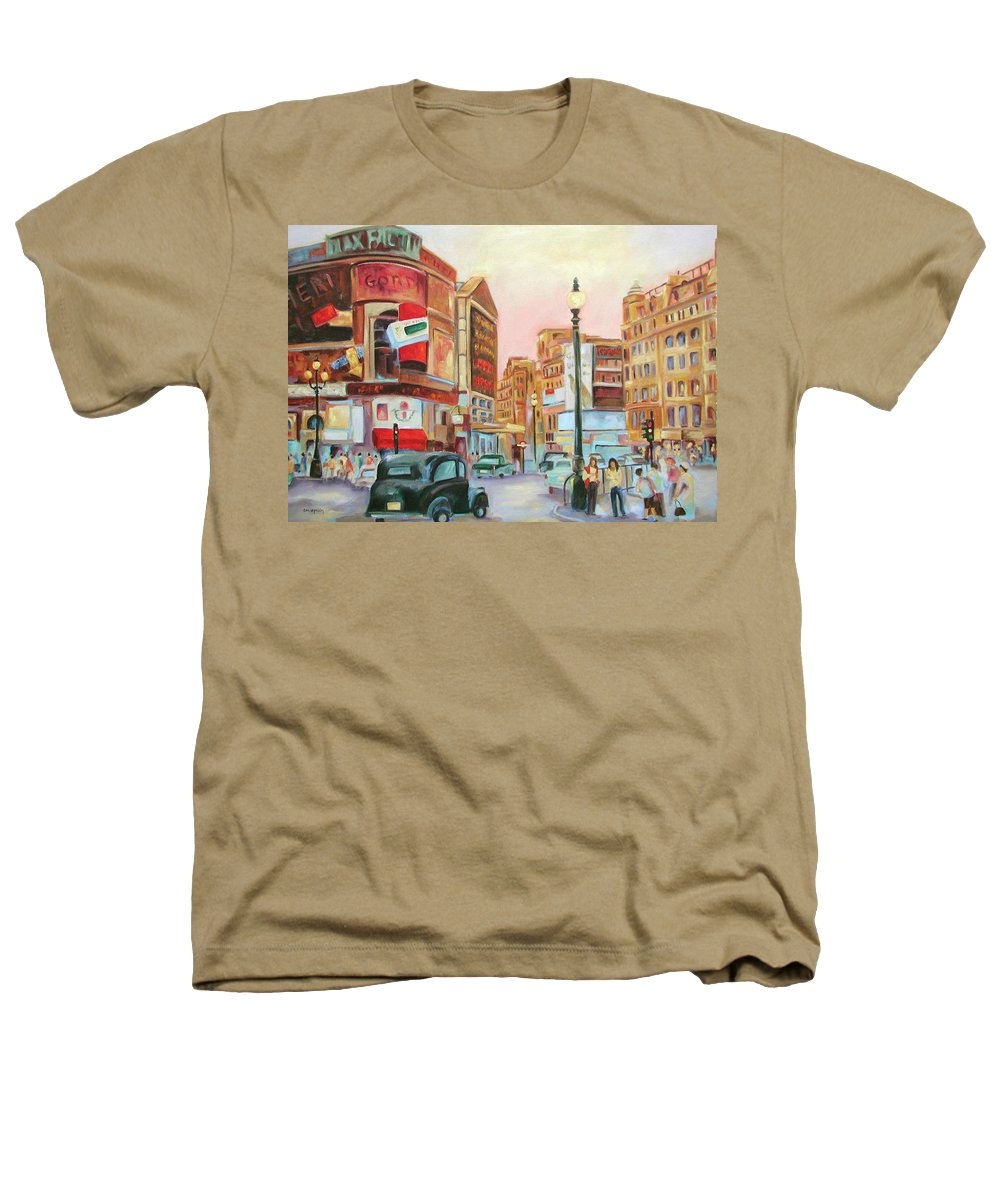 Cityscape Heathers T-Shirt featuring the painting Picadilly by Ginger Concepcion