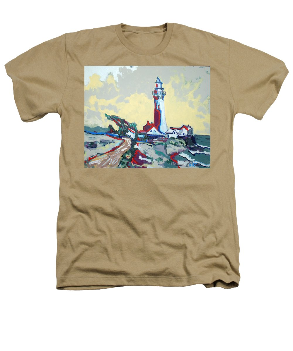 Ligthouse Heathers T-Shirt featuring the painting Pigeon Point by Kurt Hausmann