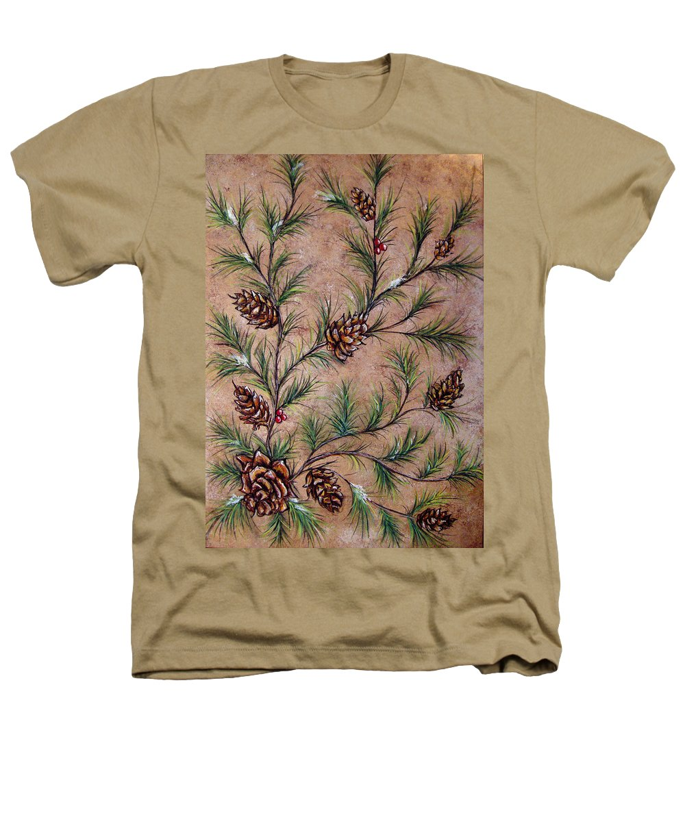 Acrylic Heathers T-Shirt featuring the painting Pine Cones And Spruce Branches by Nancy Mueller