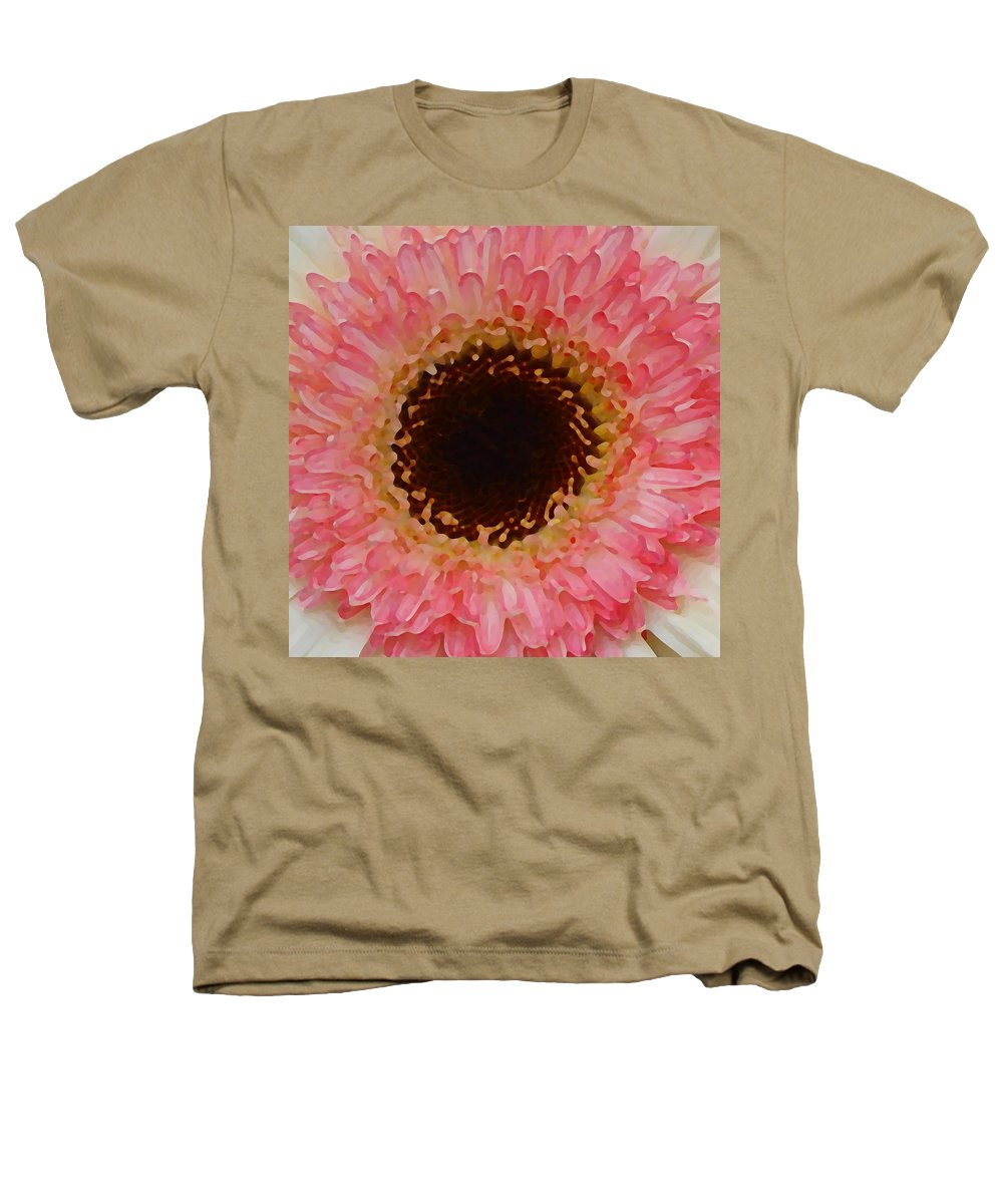Daisy Heathers T-Shirt featuring the painting Pink And Brown Gerber Center by Amy Vangsgard