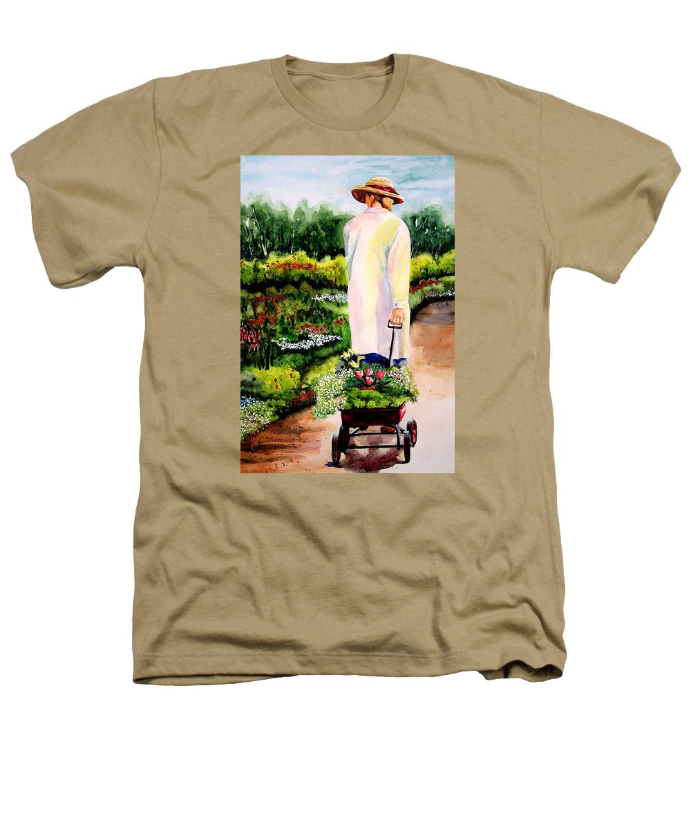 Garden Heathers T-Shirt featuring the painting Planting Plans by Karen Stark