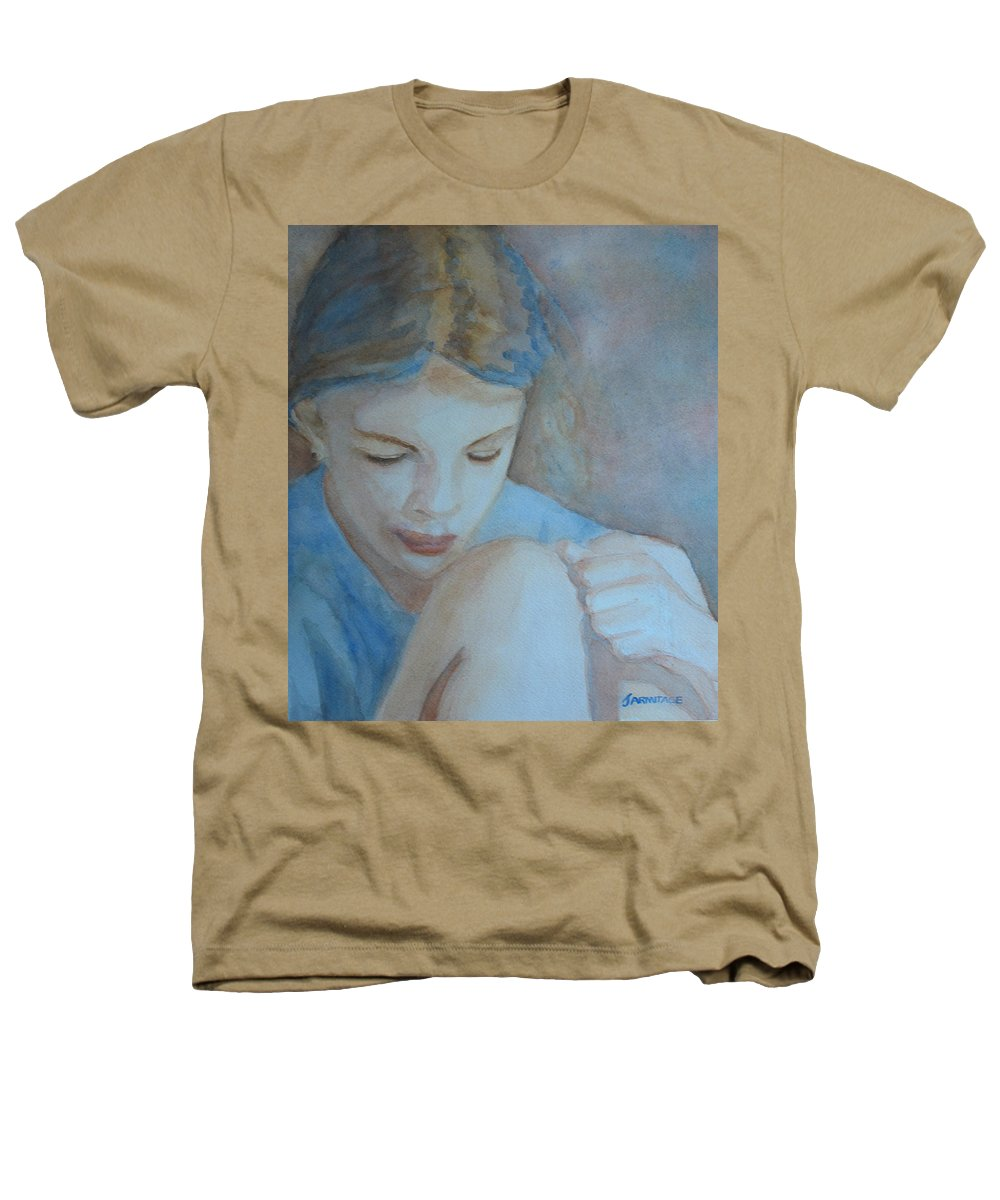 Girl Heathers T-Shirt featuring the painting Pondering by Jenny Armitage