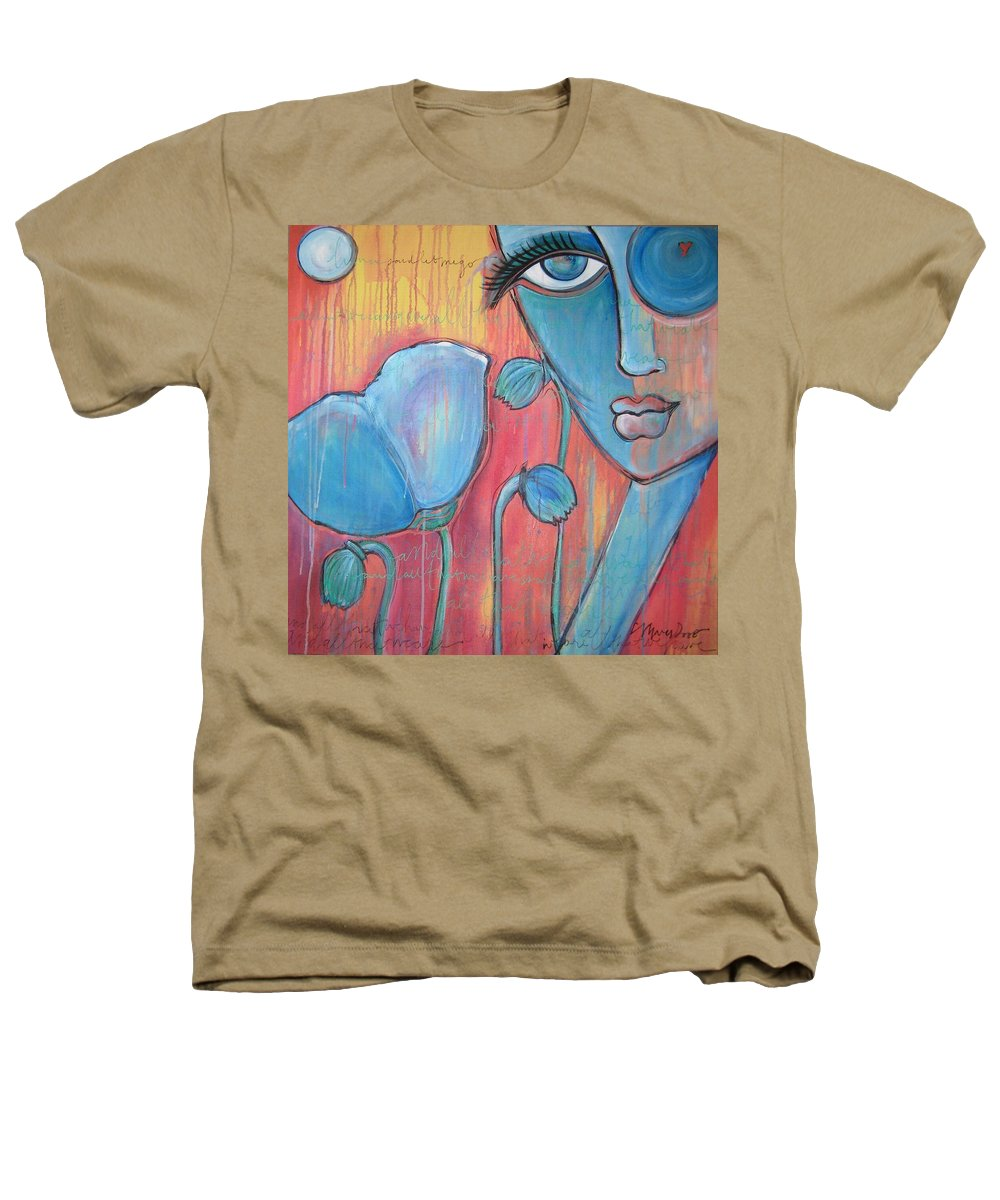 Pop Art Heathers T-Shirt featuring the painting Poppies 7 Luna Let Me Go by Laurie Maves ART