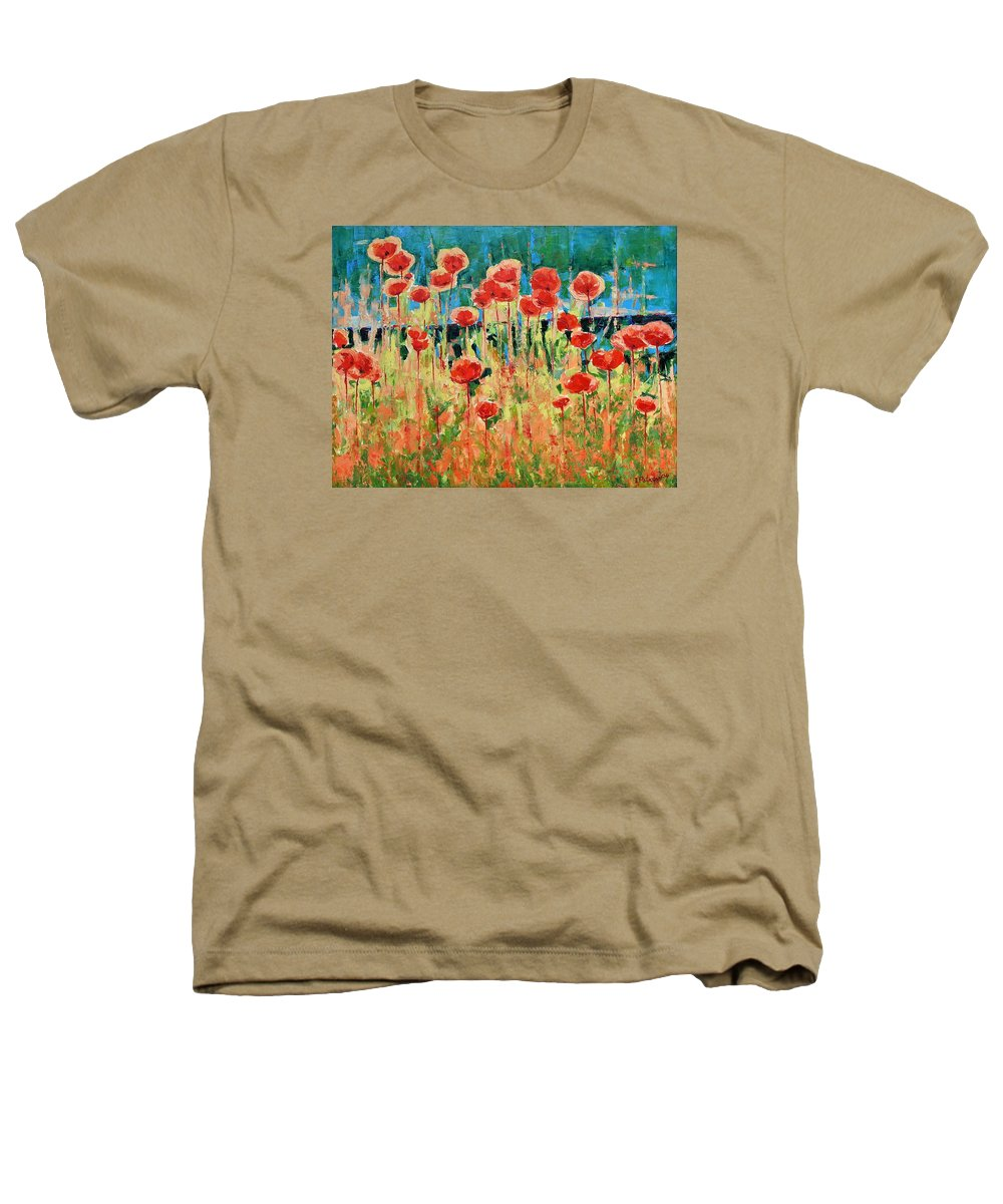Poppies Heathers T-Shirt featuring the painting Poppies And Traverses 2 by Iliyan Bozhanov