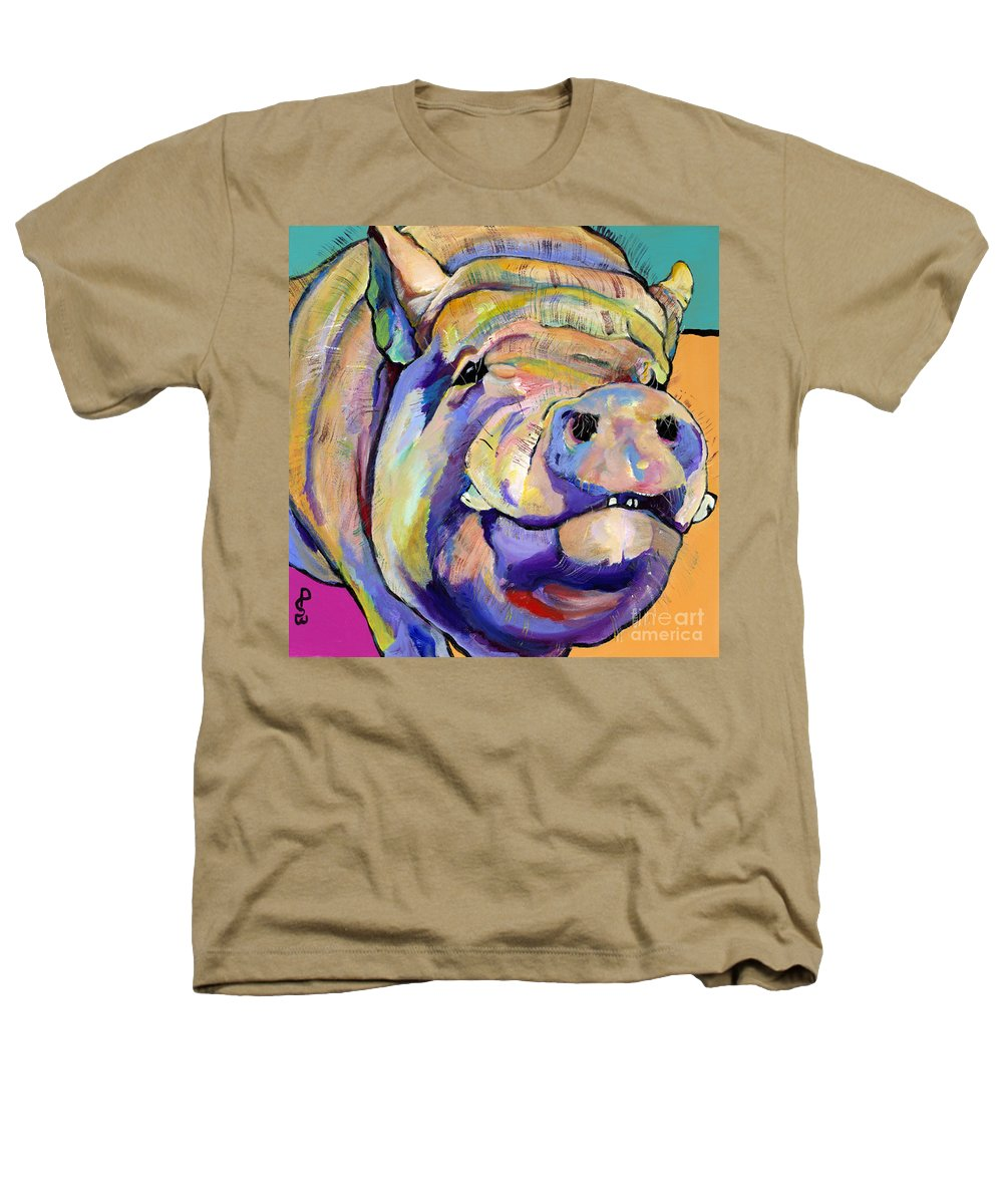 Pig Prints Heathers T-Shirt featuring the painting Potbelly by Pat Saunders-White