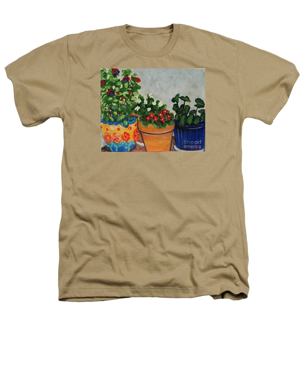 Ceramic Pots Heathers T-Shirt featuring the painting Pots Showing Off by Laurie Morgan