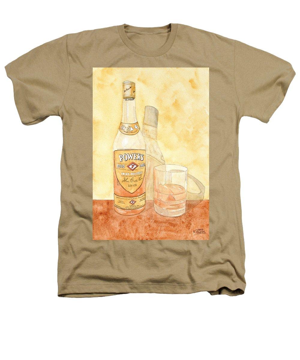 Irish Heathers T-Shirt featuring the painting Powers Irish Whiskey by Ken Powers