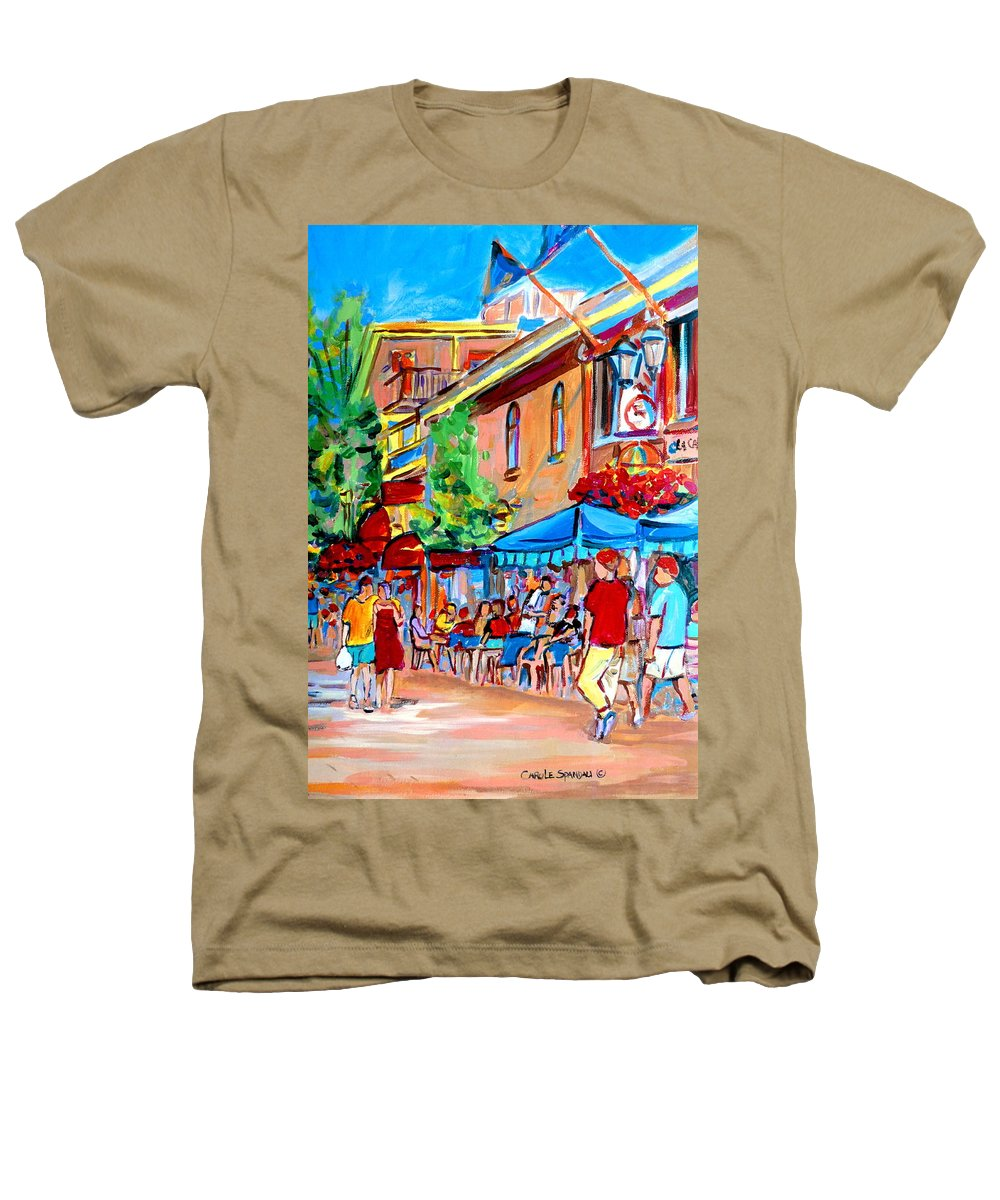 Cafes Heathers T-Shirt featuring the painting Prince Arthur Street Summer by Carole Spandau