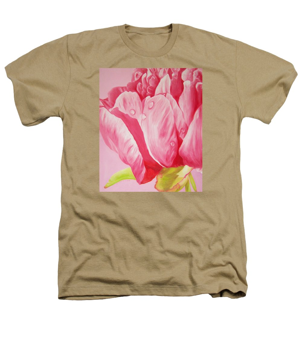 Fine Art Heathers T-Shirt featuring the painting Prints Art For Sale Floral Oil Painting Pink by Diane Jorstad