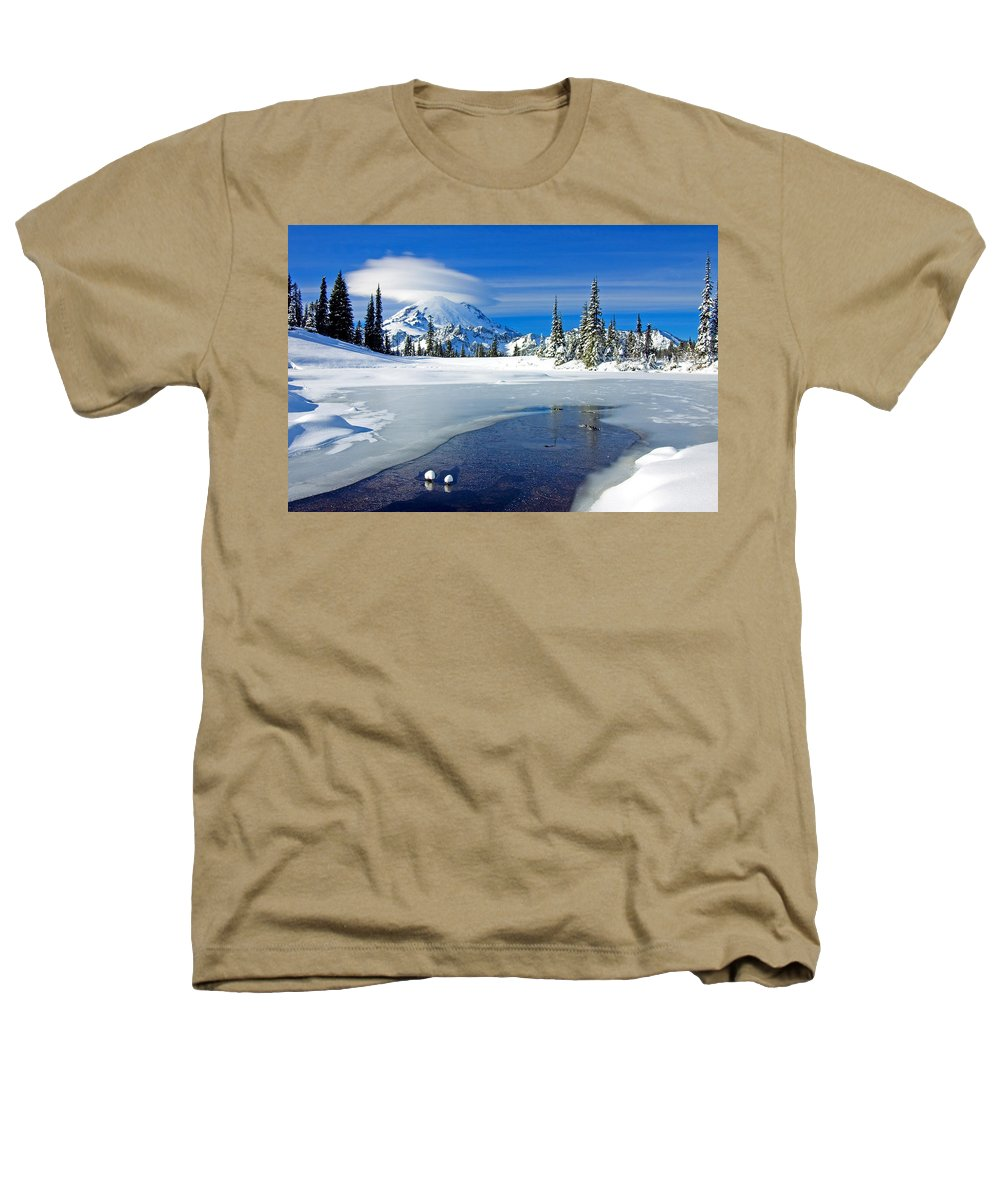 Rainier Heathers T-Shirt featuring the photograph Pristine by Mike Dawson