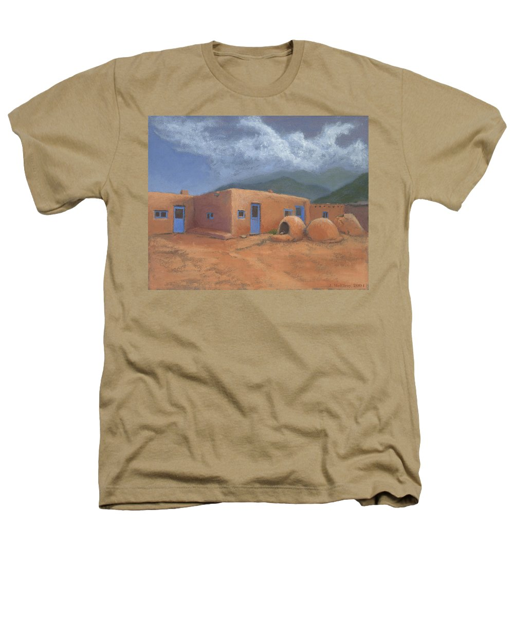 Taos Heathers T-Shirt featuring the painting Puertas Azul by Jerry McElroy