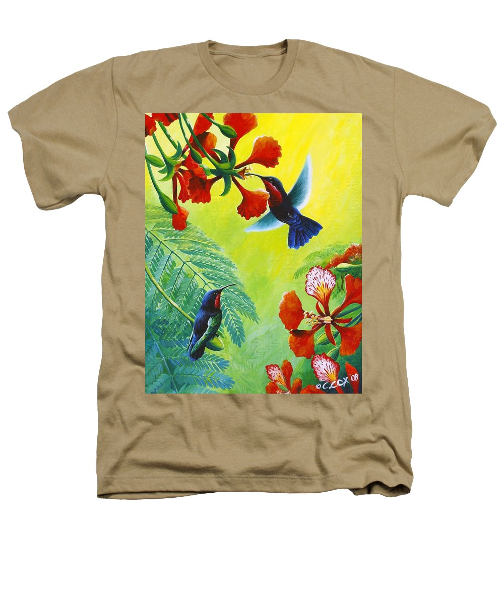 Chris Cox Heathers T-Shirt featuring the painting Purple-throated Caribs And Flamboyant by Christopher Cox
