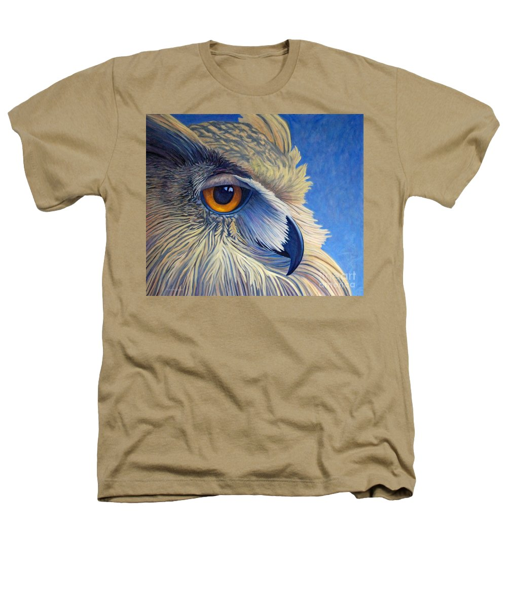 Owl Heathers T-Shirt featuring the painting Quiet Joy by Brian Commerford