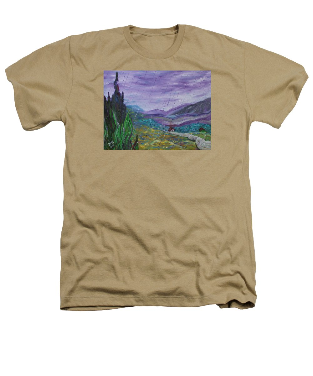 Rain Heathers T-Shirt featuring the painting Rain by David McGhee