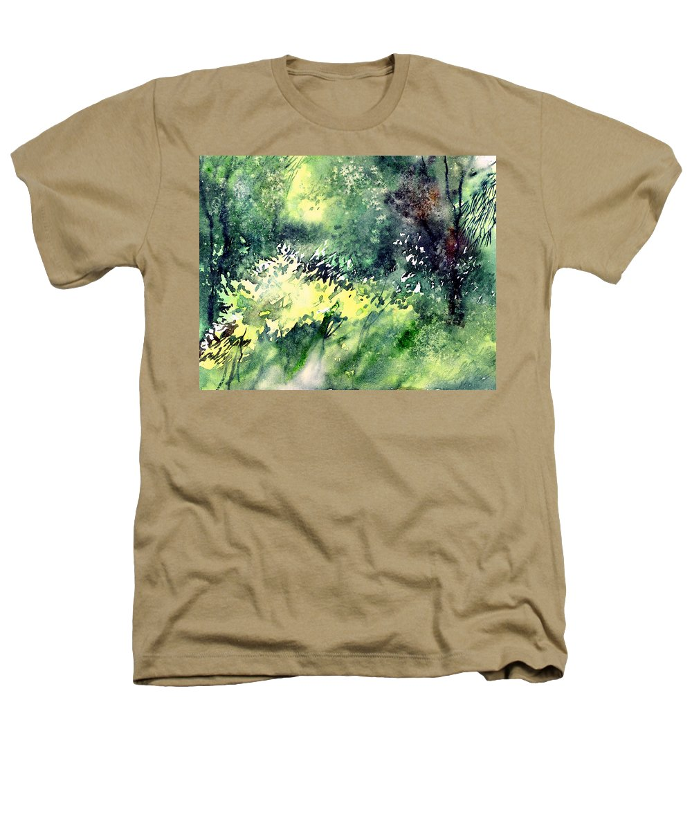 Landscape Watercolor Nature Greenery Rain Heathers T-Shirt featuring the painting Rain Gloss by Anil Nene