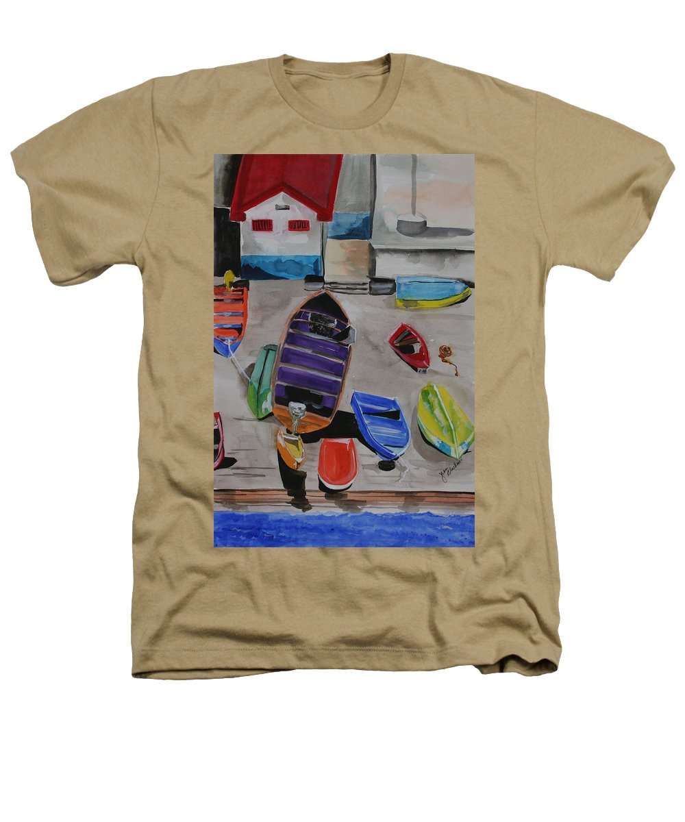 Boats Heathers T-Shirt featuring the painting Rainbow On The Dock by Jean Blackmer