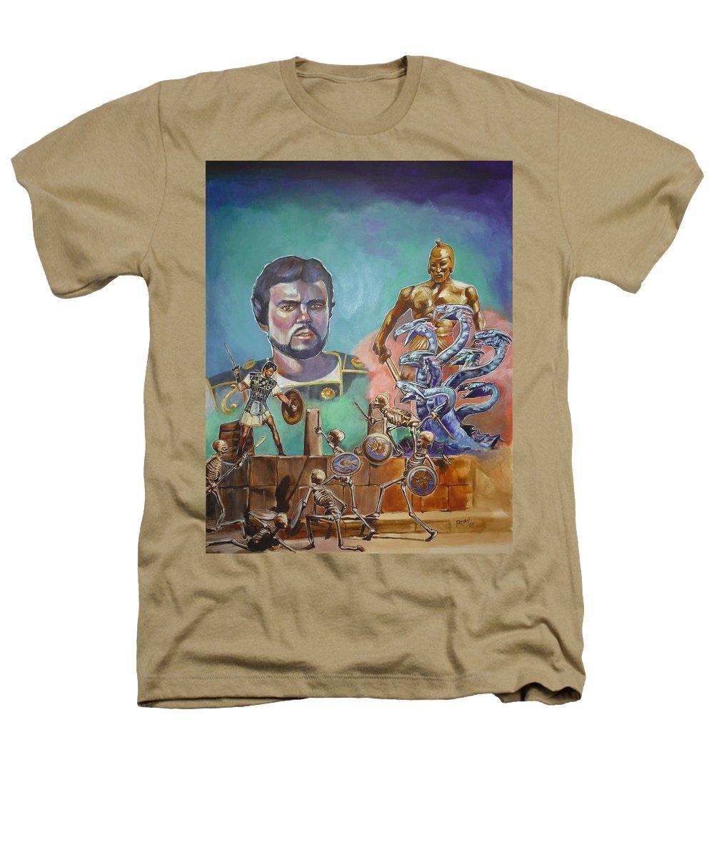 Jason Argonauts Hydra Talos Skeletons Movie Harryhausen Fantasy Sci-fi Heathers T-Shirt featuring the painting Ray Harryhausen Tribute Jason And The Argonauts by Bryan Bustard