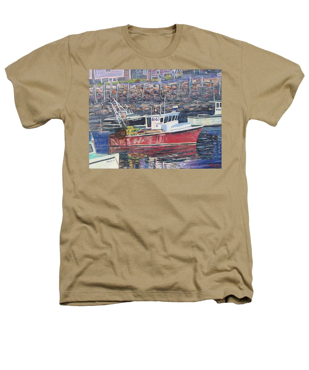 Boat Heathers T-Shirt featuring the painting Red Boat Reflections by Richard Nowak