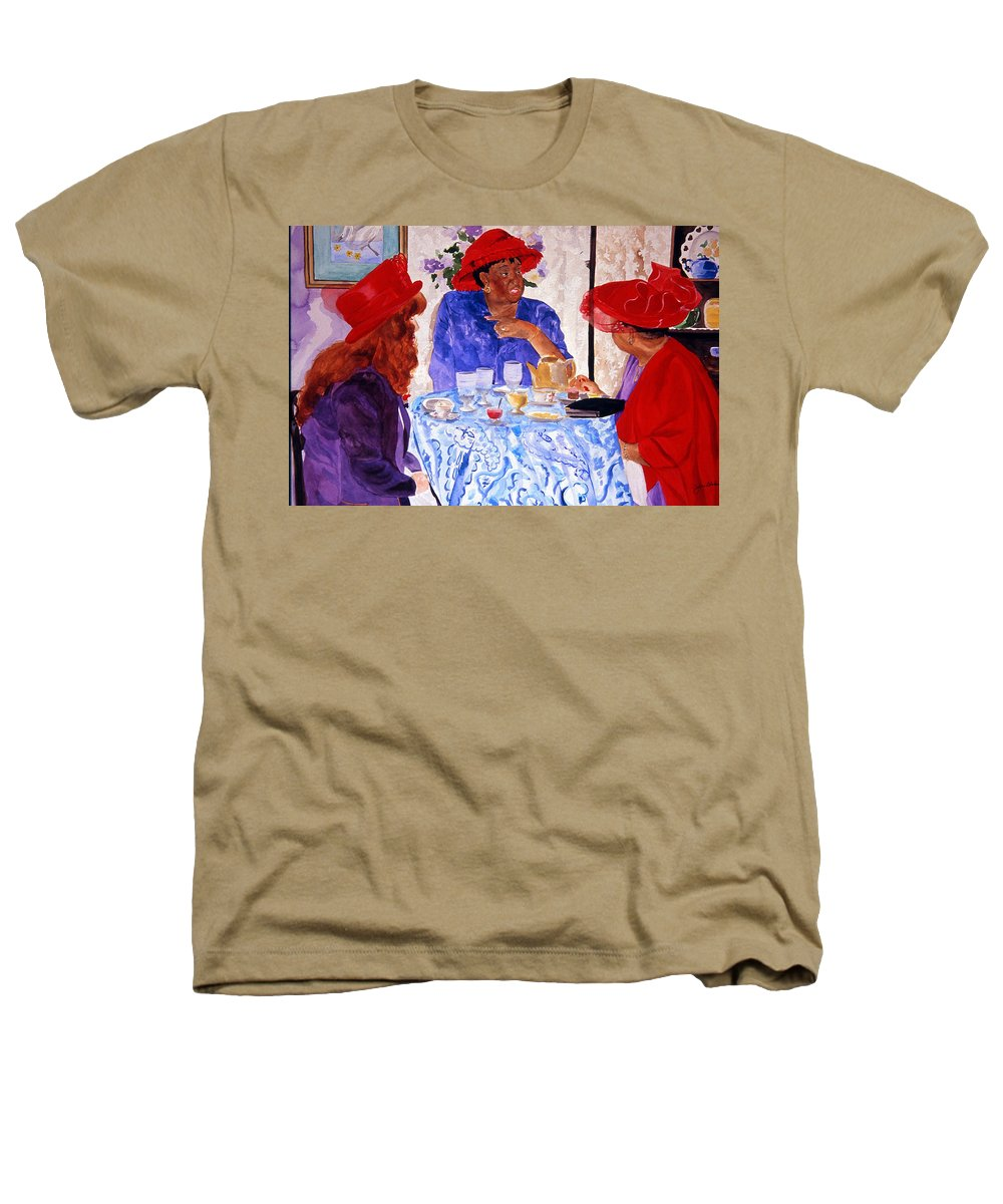 Red Hat Heathers T-Shirt featuring the painting Red Hatters Chatter by Jean Blackmer