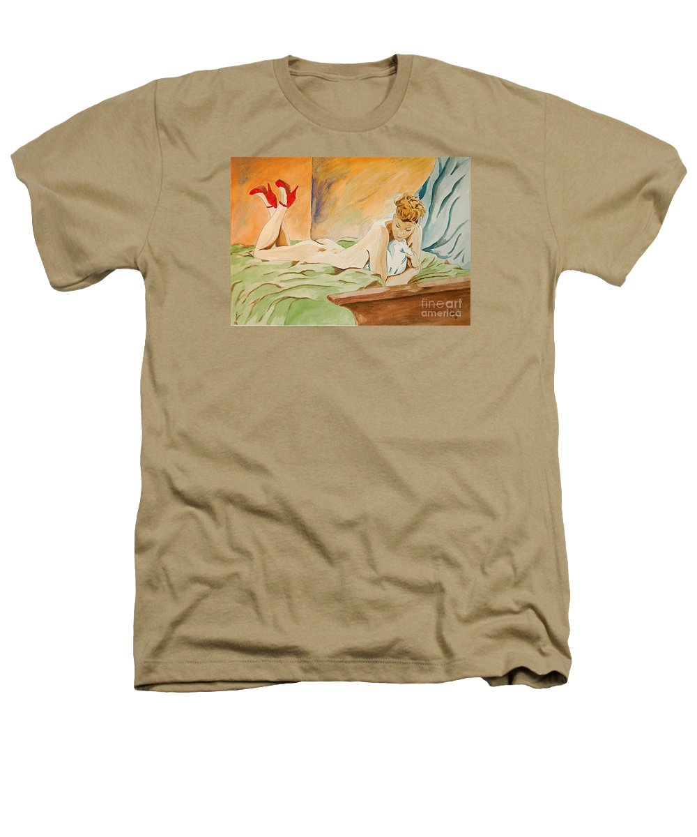 Nude Heathers T-Shirt featuring the painting Red Shoes by Herschel Fall