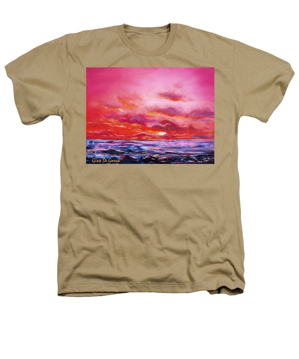 Red Heathers T-Shirt featuring the painting Red Sunset by Gina De Gorna