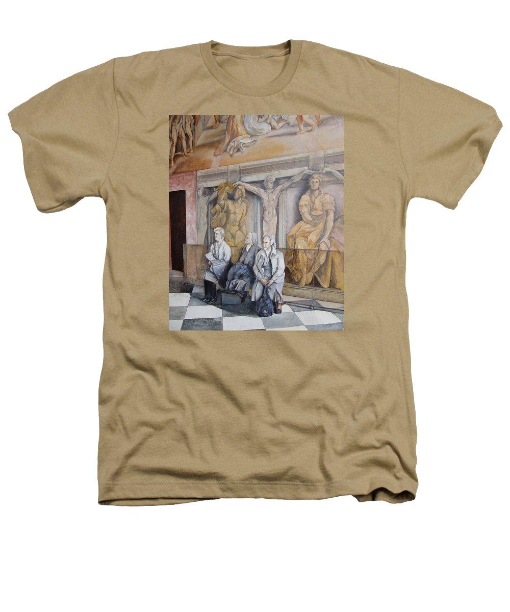 Vaticano Heathers T-Shirt featuring the painting Reposo En El Vaticano by Tomas Castano