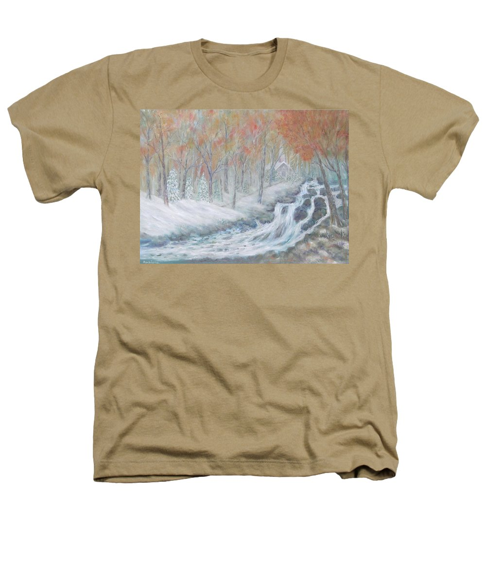 Snow; Landscape; Church Heathers T-Shirt featuring the painting Reverence by Ben Kiger