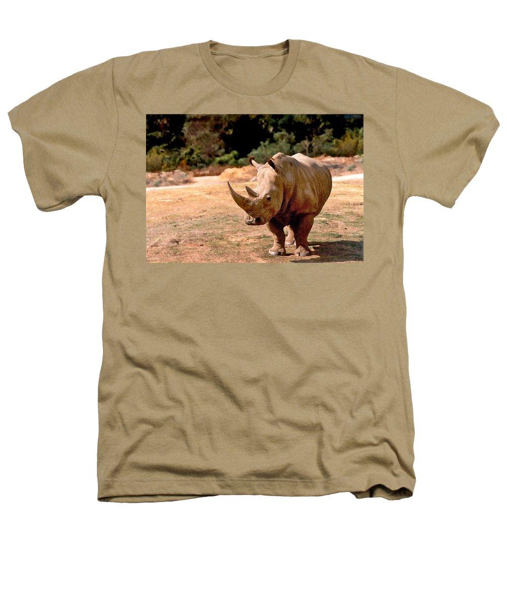 Animal Heathers T-Shirt featuring the painting Rhino by Steve Karol