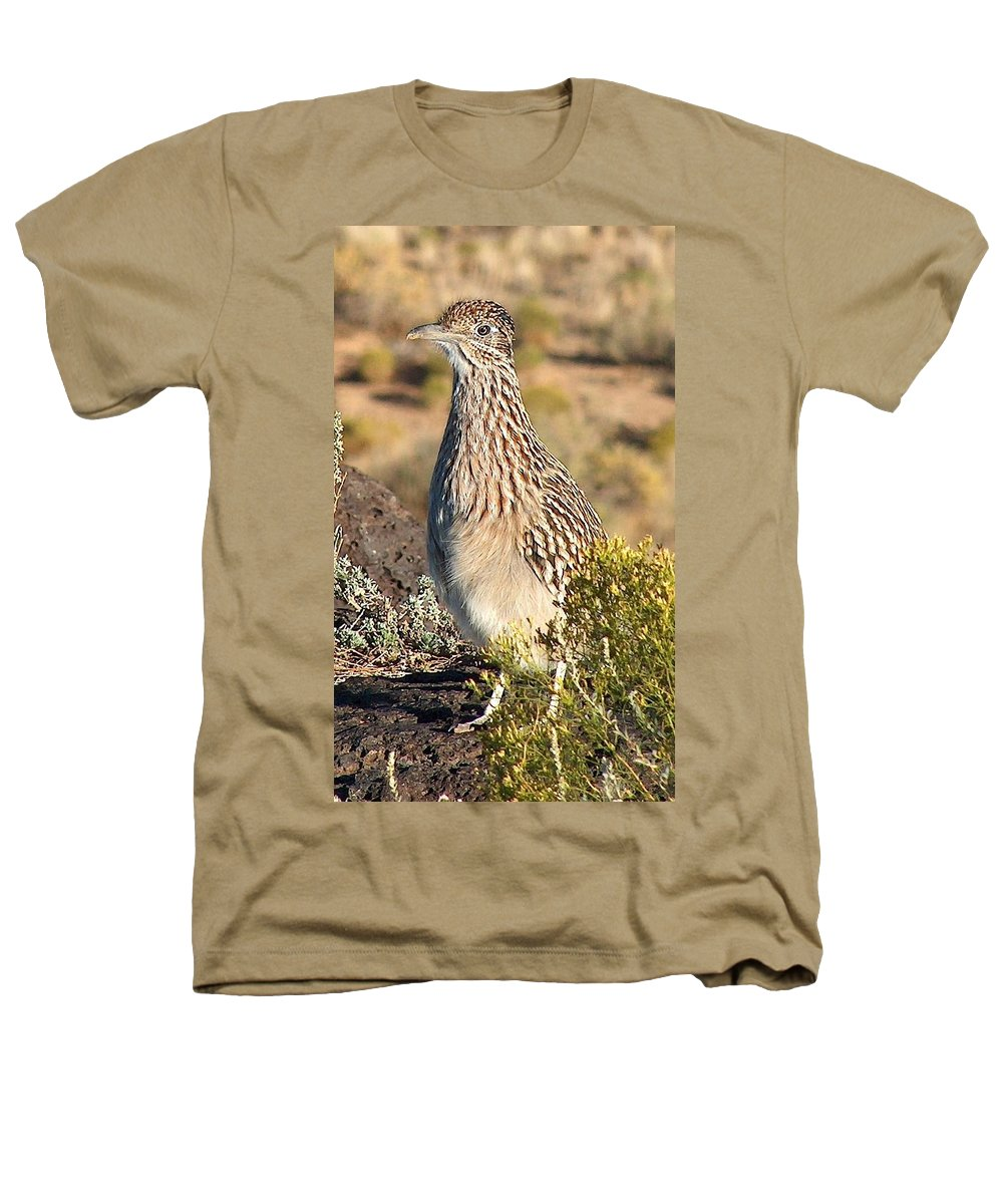 Roadrunner Heathers T-Shirt featuring the photograph Roadrunnner At The Petroglyphs by Tim McCarthy