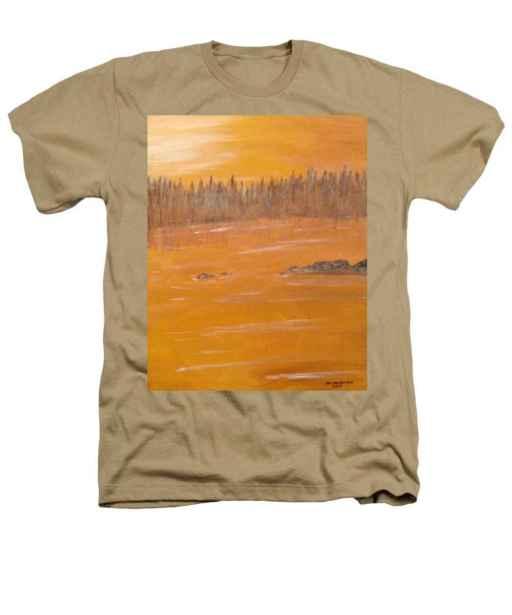 Northern Ontario Heathers T-Shirt featuring the painting Rock Lake Morning 2 by Ian MacDonald