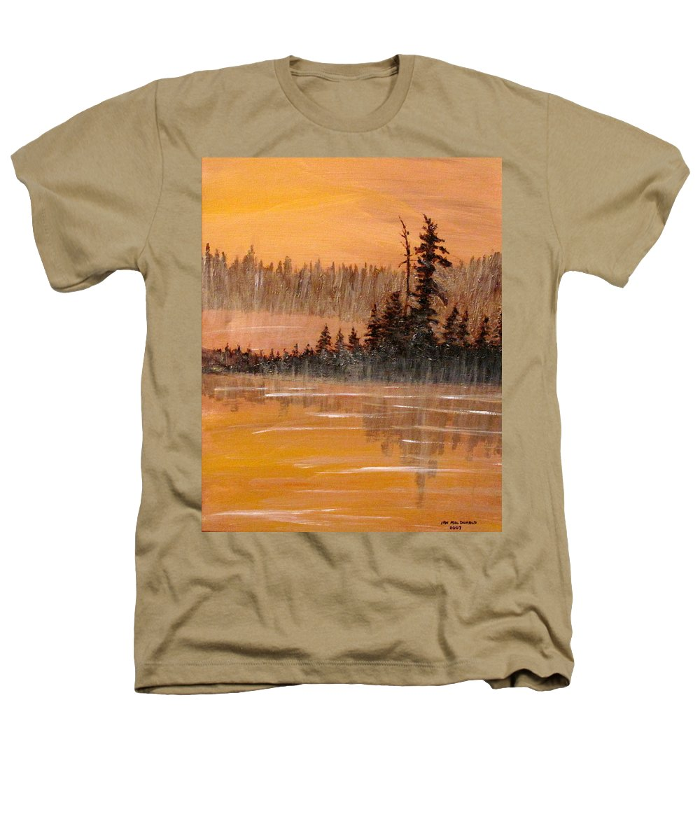 Northern Ontario Heathers T-Shirt featuring the painting Rock Lake Morning 3 by Ian MacDonald