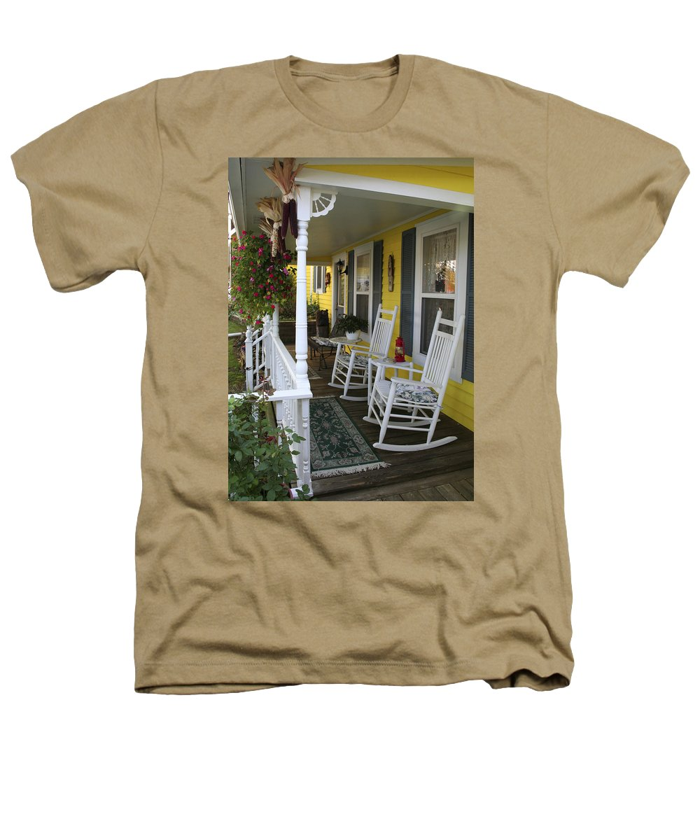 Rocking Chair Heathers T-Shirt featuring the photograph Rockers On The Porch by Margie Wildblood