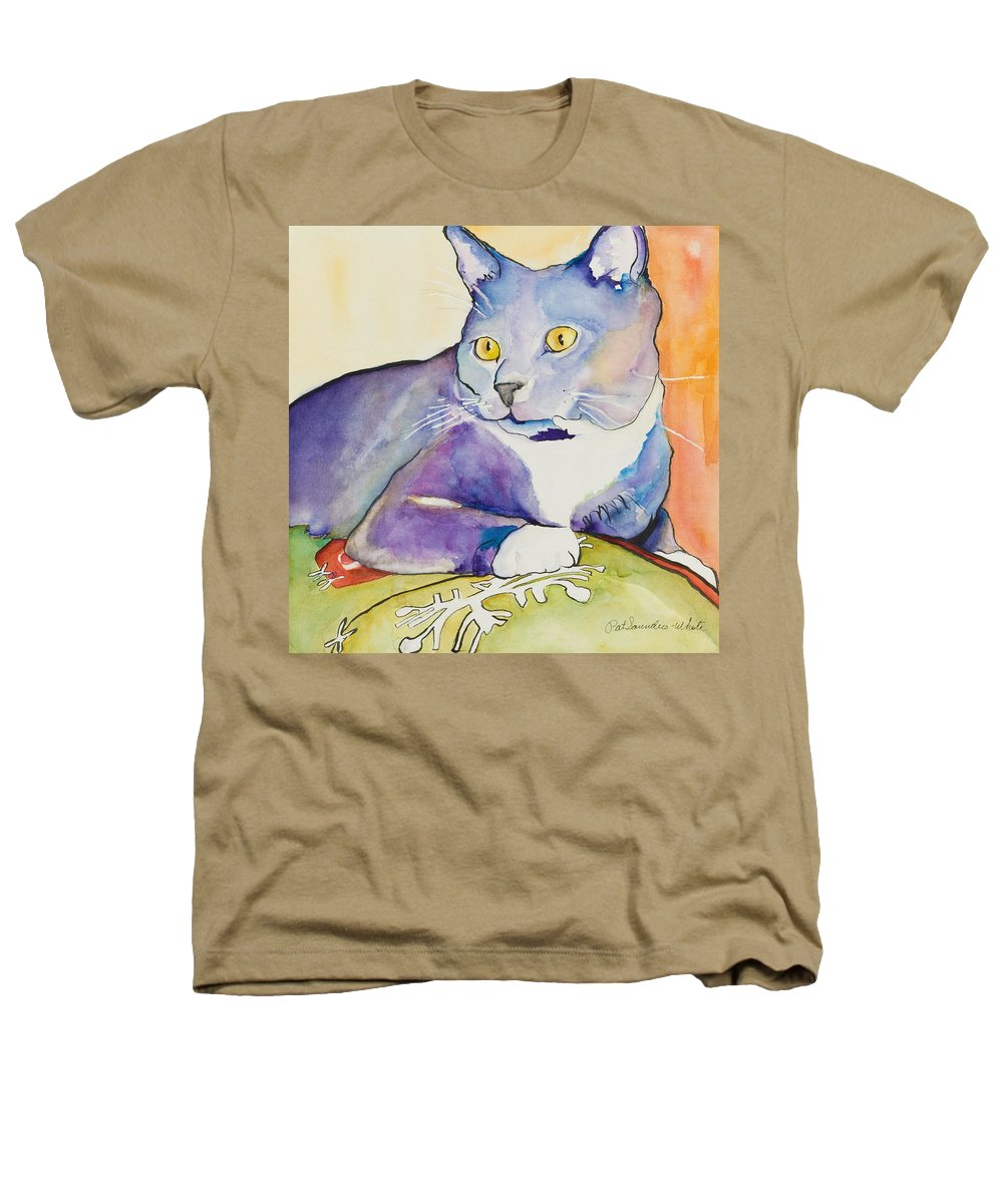 Pat Saunders-white Heathers T-Shirt featuring the painting Rocky by Pat Saunders-White