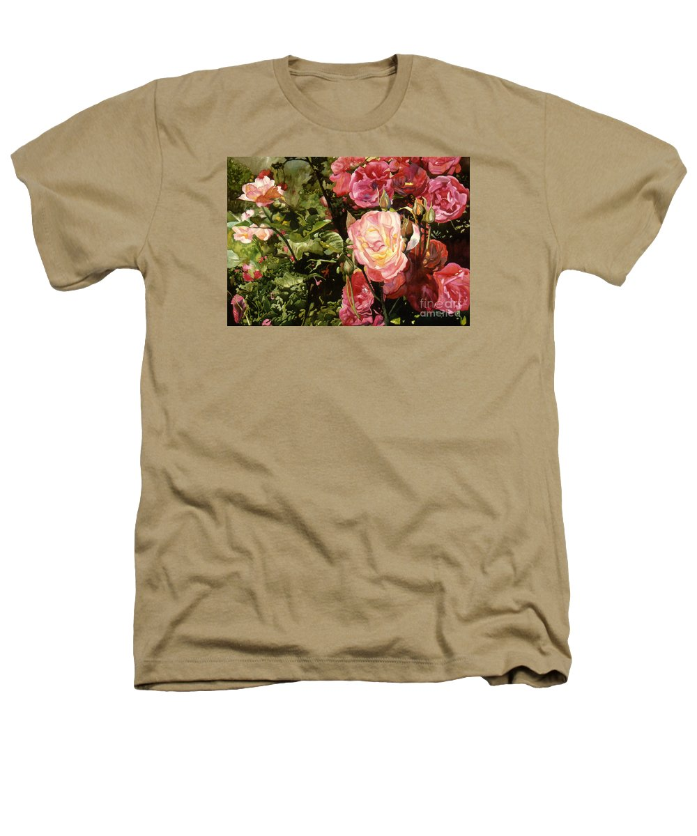 Watercolor Heathers T-Shirt featuring the painting Rose Garden by Teri Starkweather