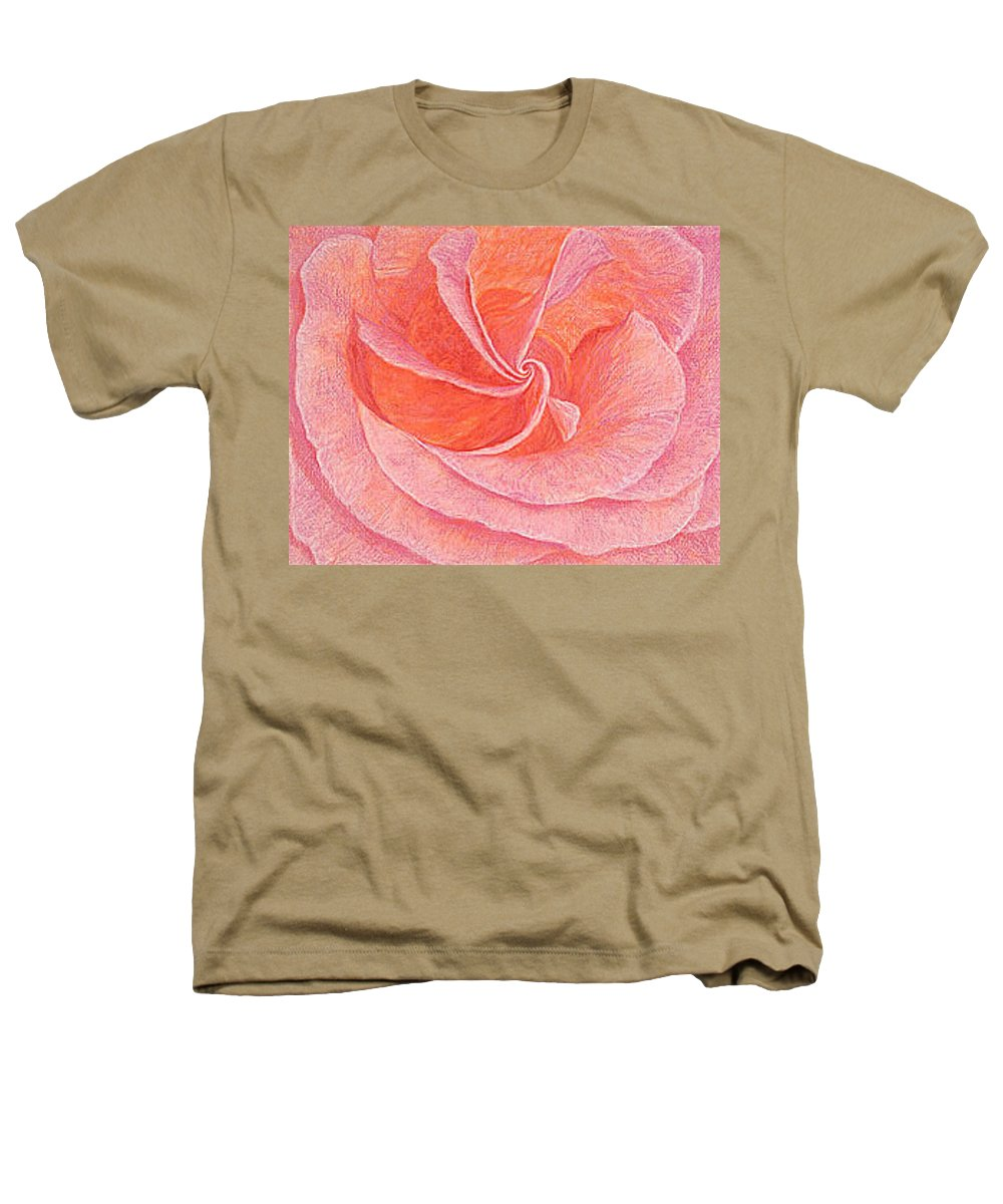 Art Print Prints Fine Giclee Canvas Framed Unframed Rose Pink Roses Garden Floral Flower Flowers Heathers T-Shirt featuring the drawing Rose Sprial Pink Fine Art Print Giclee Garden Flower Floral Botanical Love Romance by Baslee Troutman