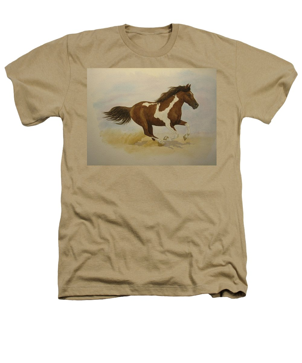Paint Horse Heathers T-Shirt featuring the painting Running Paint by Jeff Lucas