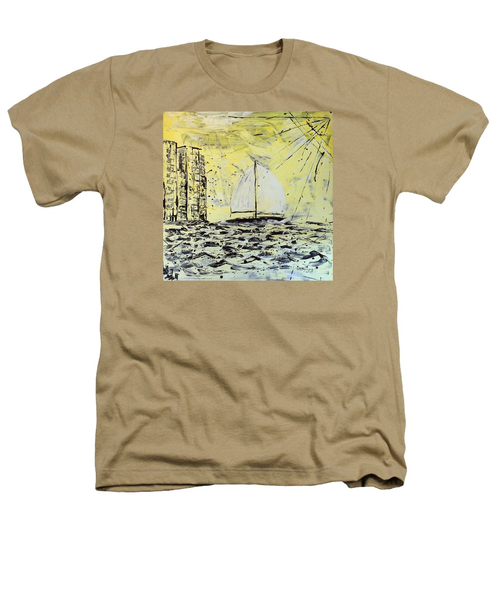 Sailboat With Sunray Heathers T-Shirt featuring the painting Sail And Sunrays by J R Seymour