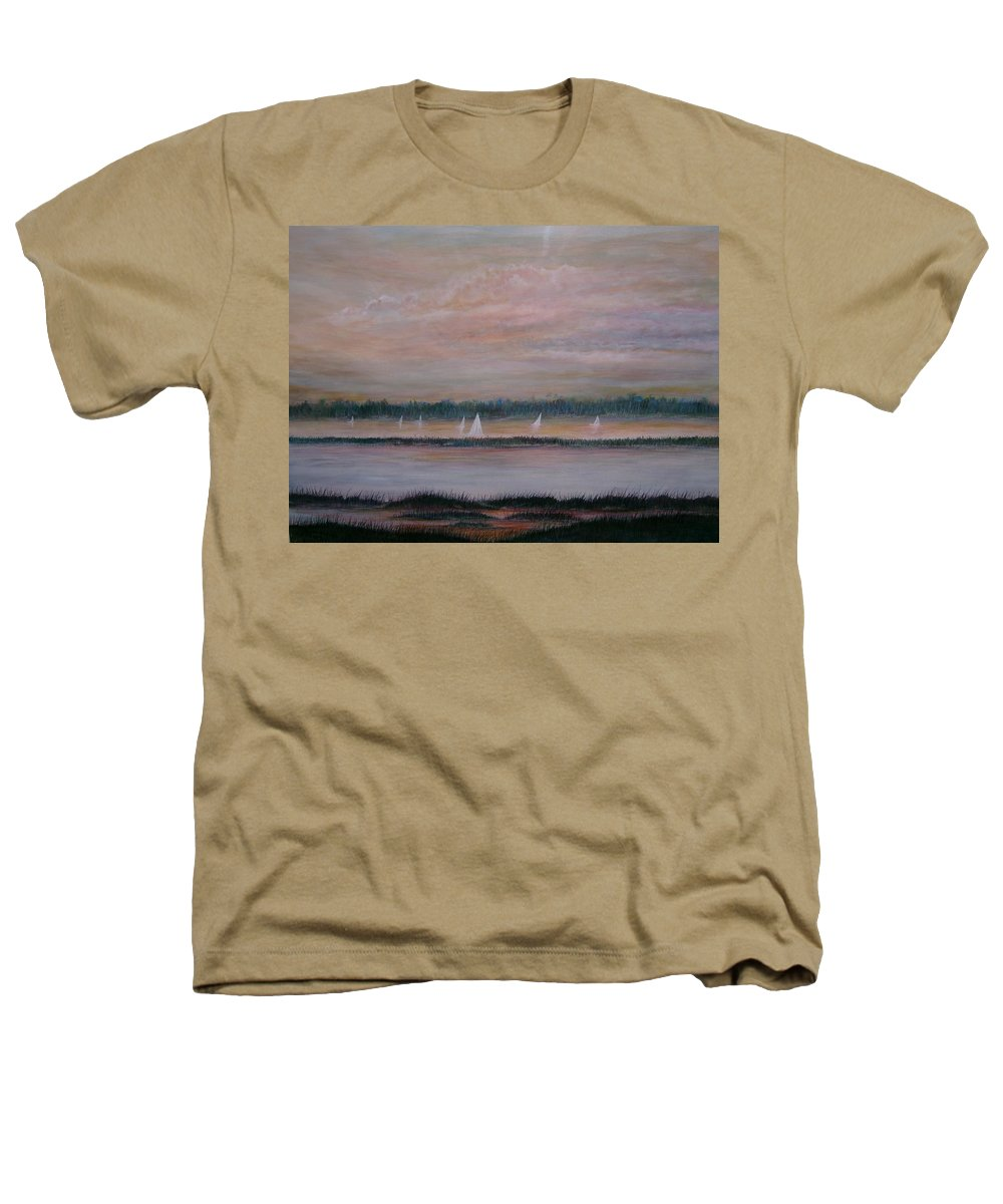Sailboats; Marsh; Sunset Heathers T-Shirt featuring the painting Sails In The Sunset by Ben Kiger