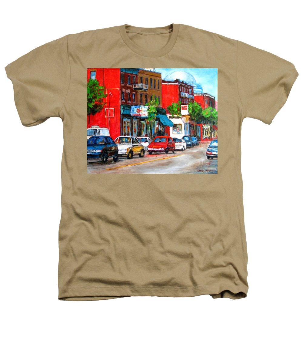 St.viateur Bagel Heathers T-Shirt featuring the painting Saint Viateur Street by Carole Spandau