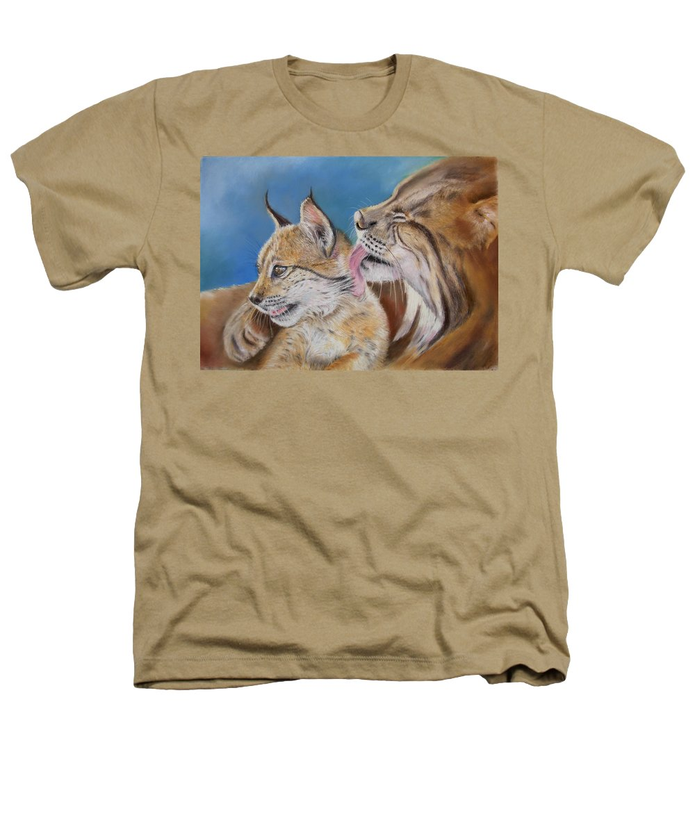 Iberian Lynx Heathers T-Shirt featuring the painting Saliega Y Brezo by Ceci Watson