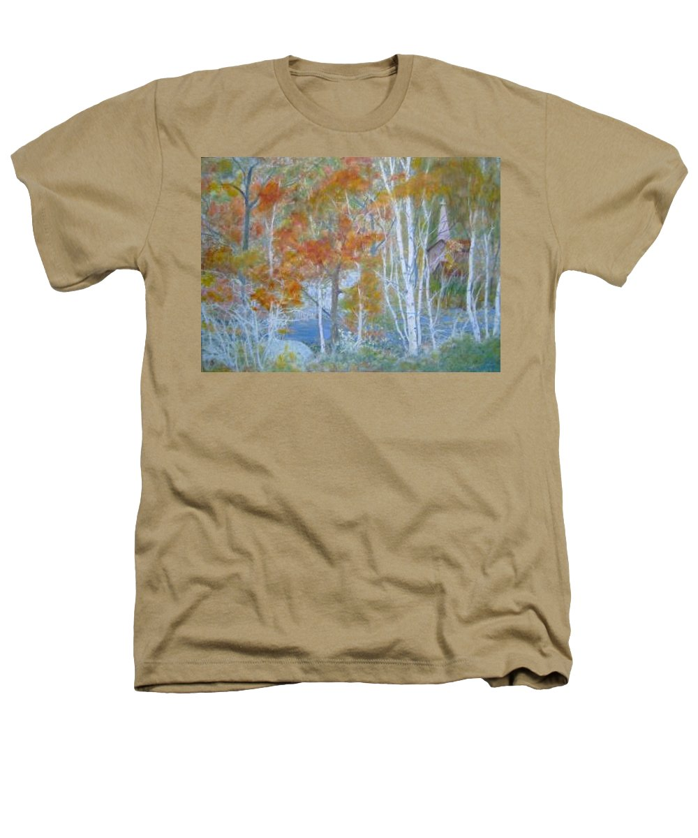 Church; Landscape; Birch Trees Heathers T-Shirt featuring the painting Sanctuary by Ben Kiger