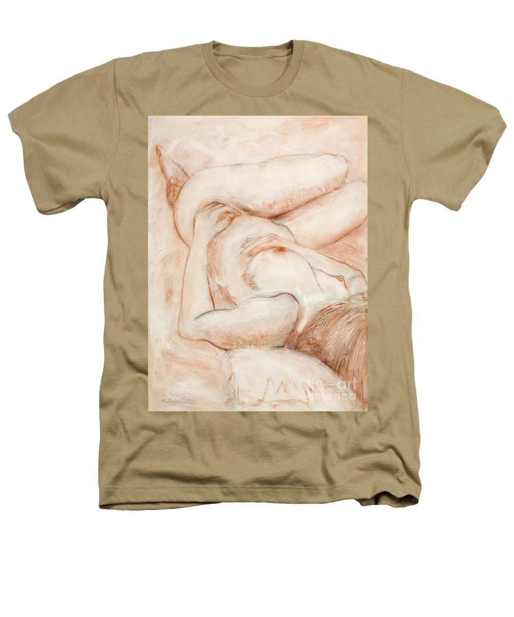Female Heathers T-Shirt featuring the drawing Sanguine Nude by Kerryn Madsen-Pietsch