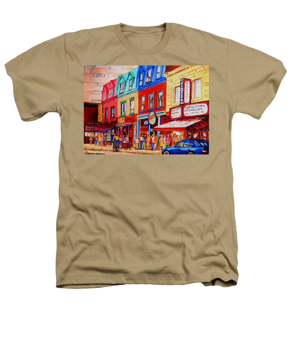Cityscape Heathers T-Shirt featuring the painting Schwartz Lineup With Simcha by Carole Spandau