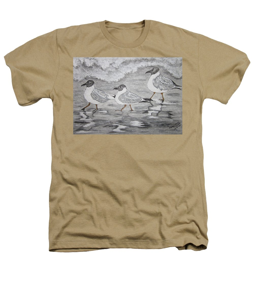 Sea Gulls Heathers T-Shirt featuring the painting Sea Gulls Dodging The Ocean Waves by Kathy Marrs Chandler